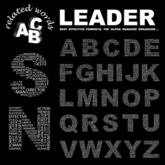 LEADER. Alphabet. Illustration with different association terms.