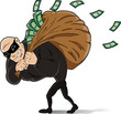 Big thief stealing a lot of money.