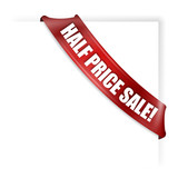 Half price sale banner