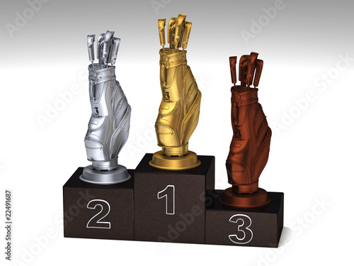 Golf dark wood podium with trophies on a white floor