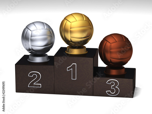 Volleyball dark wood podium with trophies on a white floor
