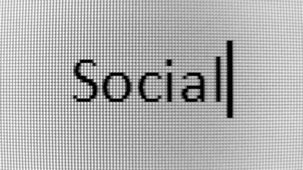 Typing Social and Media words on BW PC screen