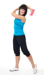 woman smile and exercise with dumbbell