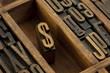 dollar - vintage letterpress wooden type
