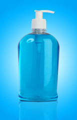Liquid handwash soap in blue background