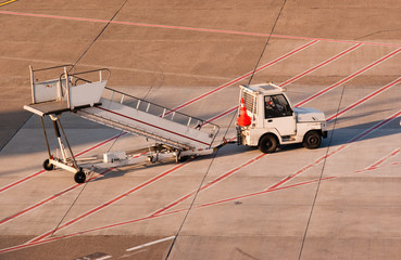 Airport. Truck and ladder.