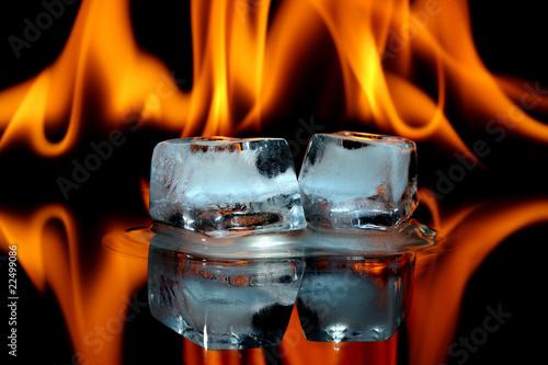 Leinwandbild Motiv Ice cubes on fire