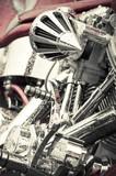 rain soaked chromed motorcycle parts