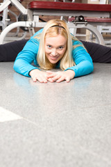 Woman doing exercises on the floor