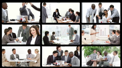 Montage footage showing people in the workplace