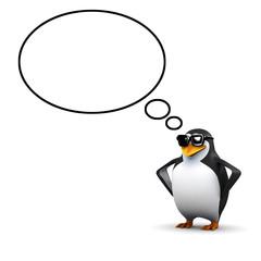 3d Think penguin