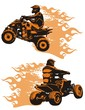 Flaming quad bikes with riders. Vector illustration.