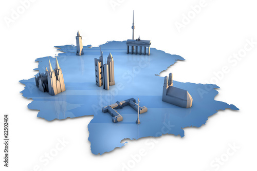 Map of Germany with landmarks of the six largest cities