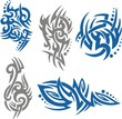 Tribal Tattoo Set Vector Illustration. Collection
