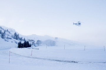 France, helicopter landing at Courchevel heliport