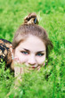 face in grass