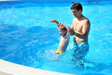 family fun in pool