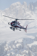 France, Courchevel, helicopter in flight