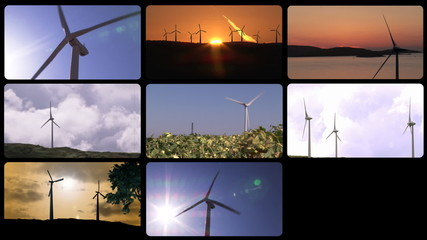 Montage footage presenting the wind power