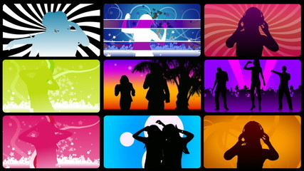 Montage footage presenting silhouettes dancing