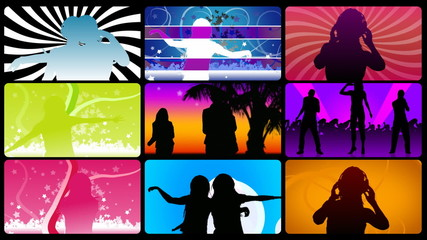 Animation presenting silhouettes dancing