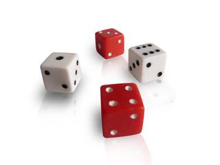 Quattro dadi bianchi e rossi