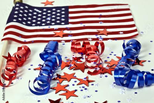 Flag and confetti