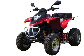 Red quad bike (ATV)  isolated on white