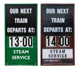 Vintage train placards