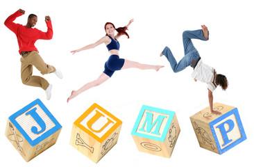 Alphabet Blocks JUMP with People Jumping