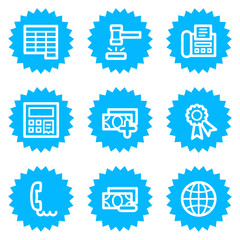 Finance web icons set 2, blue sticker series