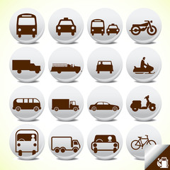 Transportation icon set vector buttons