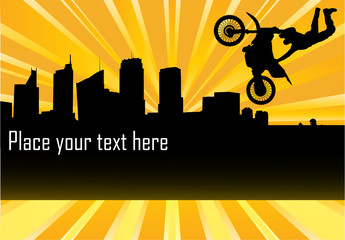 Motorcycle trial extreme vector background