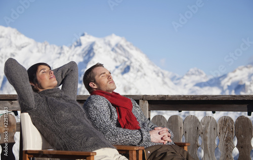 Young couple enjoying winter sun