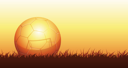 golden soccer ball reflecting goal