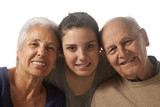 Grandparents with granddaughter poster