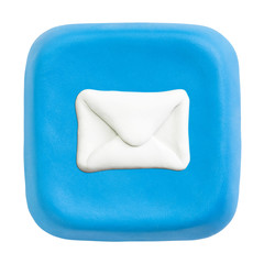 Blue square mail key. Clipping paths for button, icon