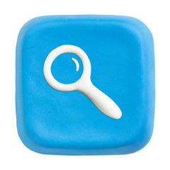 Blue square loupe key. Clipping paths for button, icon