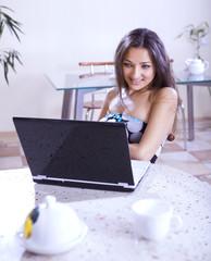 girl in internet cafe