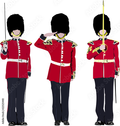 Vector image of three beefeater. England guards.