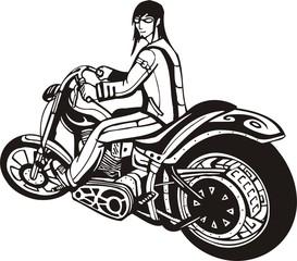 Biker on Motorcycle.