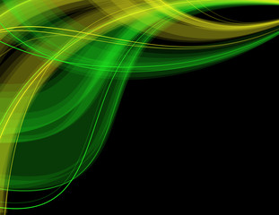 Abstract_green_and_blue_waves_on_black_background