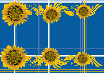 yellow sunflowers pattern on blue