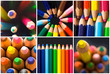 collage of colorful pencils