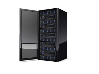 Black regular 3d server with the open door