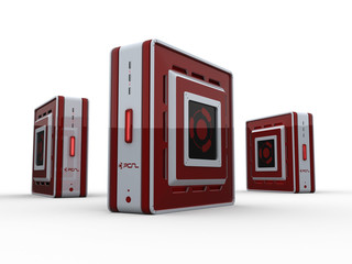 Three red computer servers