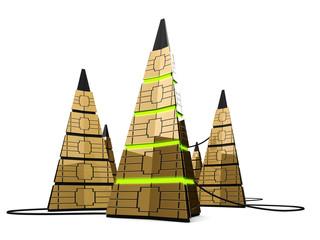 Three pyramidal creative computer servers