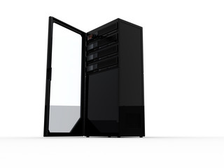 Black computer server with an open door