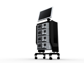 A stack of computer servers and lcd monitor