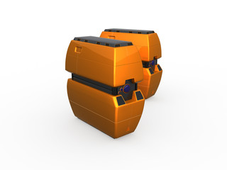 two orange computer servers